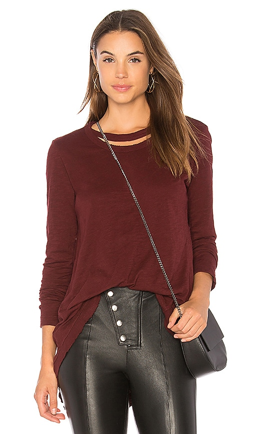 Wilt Double Neck Slouchy Top in Burgundy