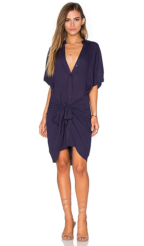 Lost in Lunar Euphoria Shirt Dress in Navy