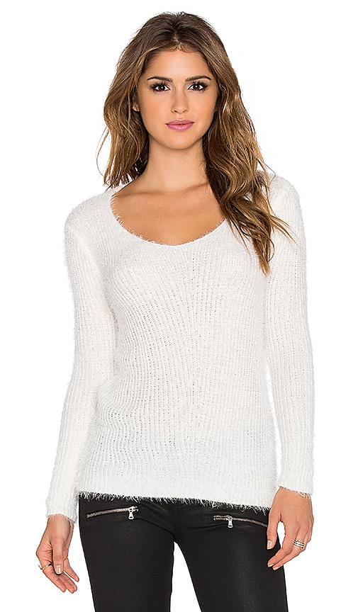 Wilde Heart Loose Ends Fluffy Sweater in White