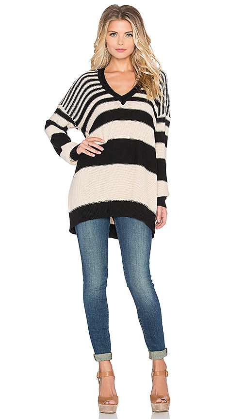 Wilde Heart Touch Down Sweater in Black & Latte
