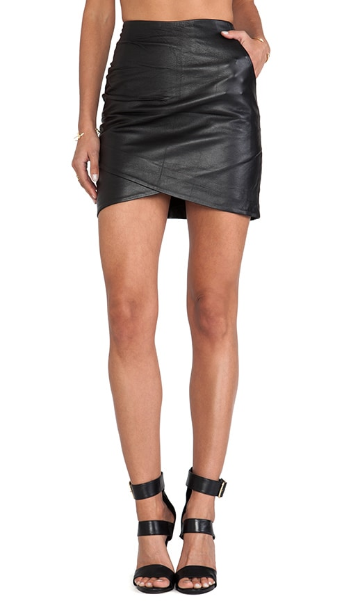 Curved Leather Skirt