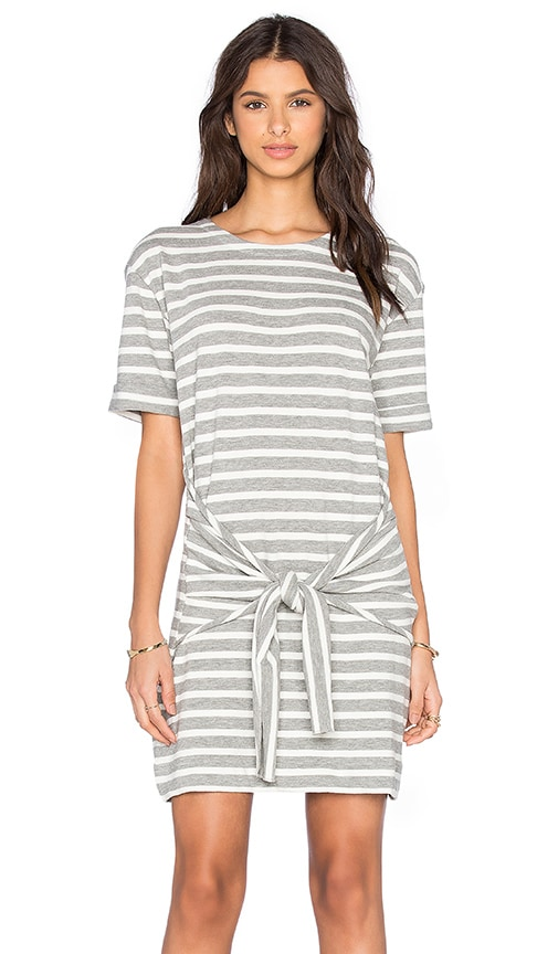 White + Warren Tie Waist Mini Dress in Gray