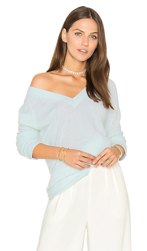 White + Warren Side Slit V Neck Sweater in Blue