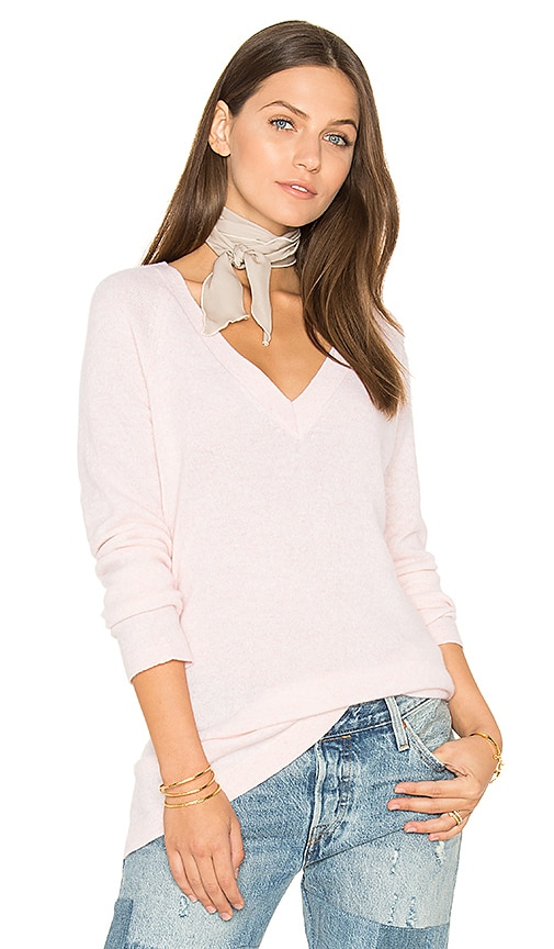 White + Warren Side Slit V Neck Sweater in Pink