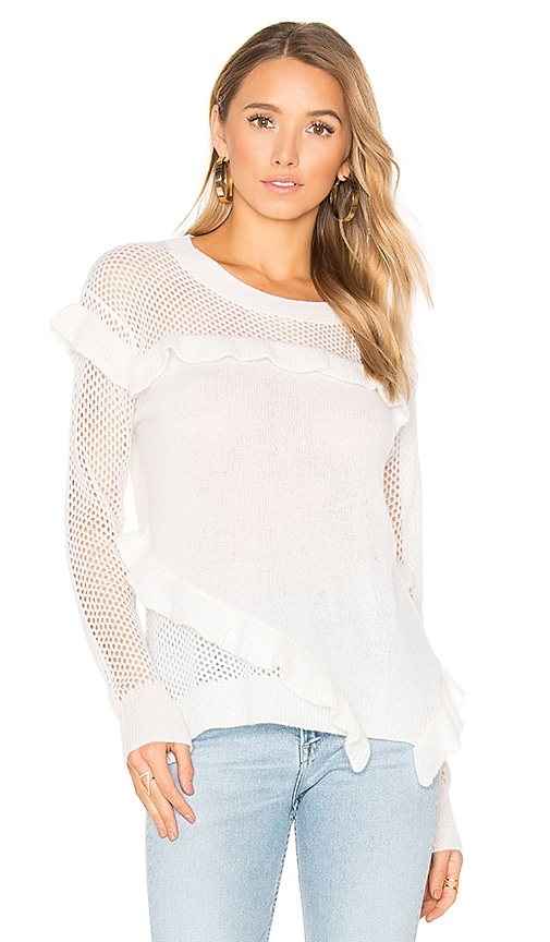 White + Warren Ruffle Crew Neck Sweater in White