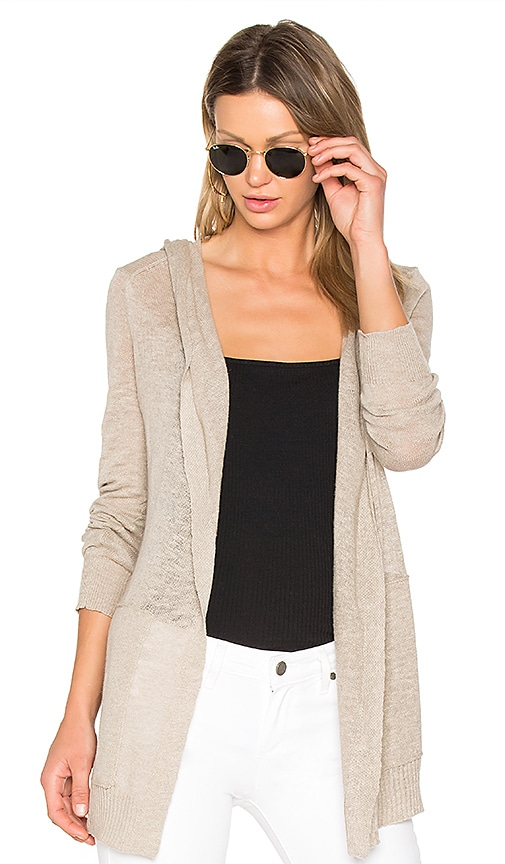 White + Warren Hooded Cardigan in Beige