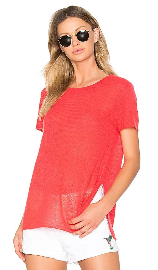 White + Warren Side Slit Sweater in Red