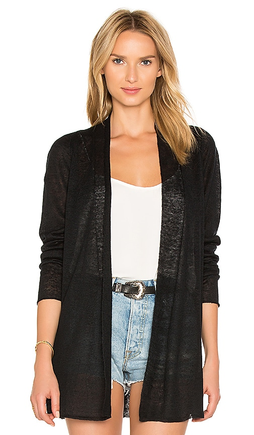 White + Warren Open Cardigan in Black