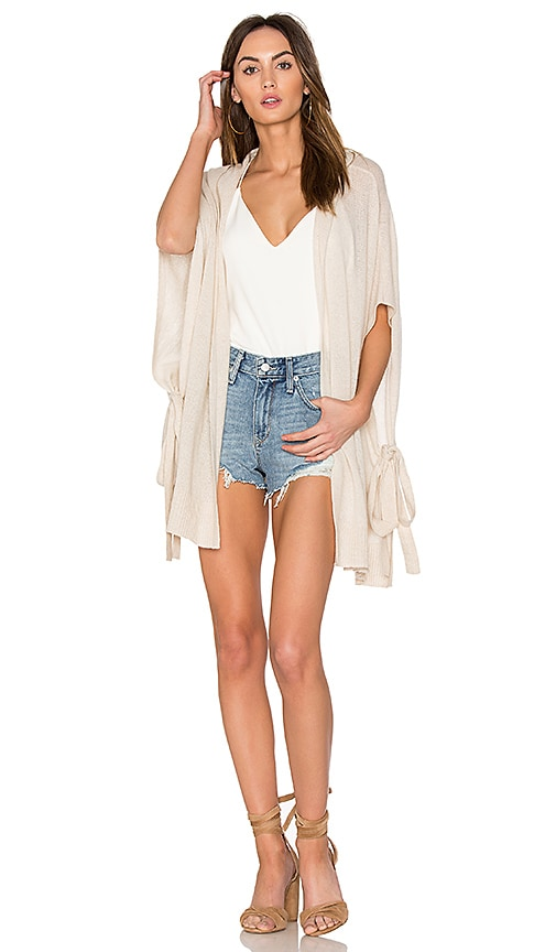 White + Warren Side Tie Open Cardigan in Beige