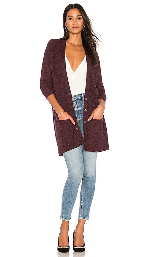 White + Warren Double Hem Cardigan in Purple