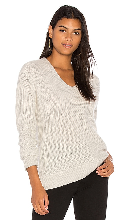 White + Warren Plush Rib V Neck Sweater in Gray