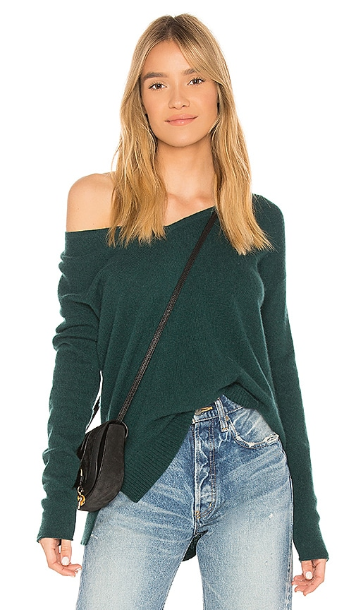 White + Warren V Neck Sweater in Green