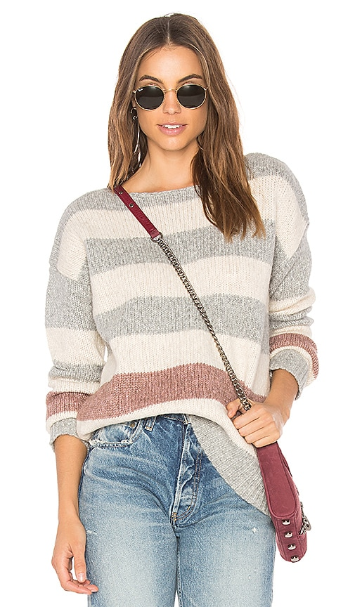 White + Warren Bold Stripe Bateauneck Sweater in Gray