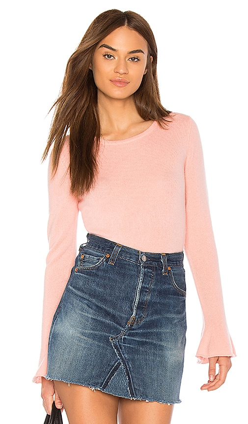 White + Warren Fluted Cuff Sweater in Pink