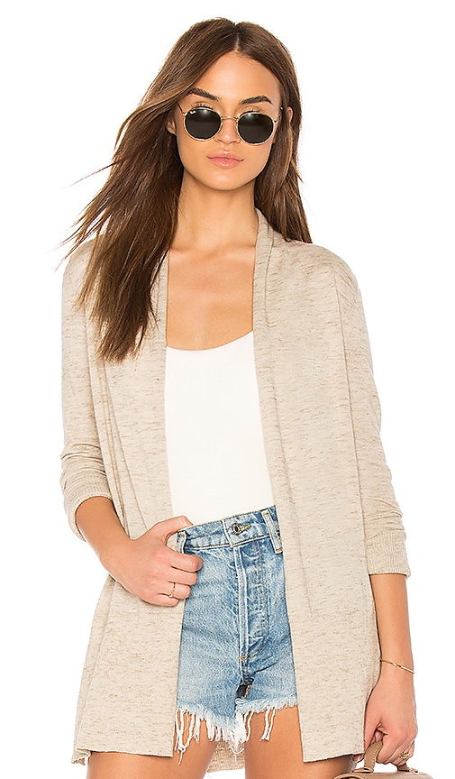 White + Warren High Rib Cardigan in Beige