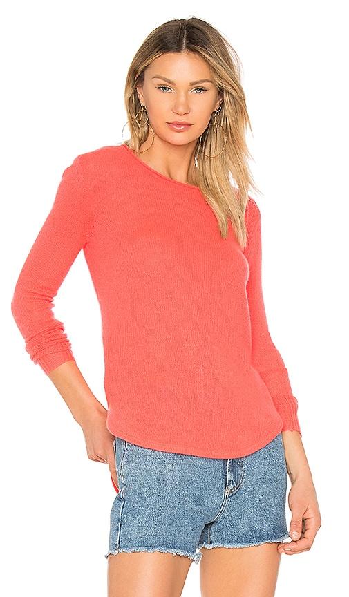White + Warren Featherweight Shirttail Sweater in Coral