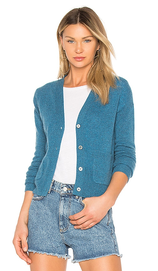 White + Warren Patch Pocket Cardigan in Blue