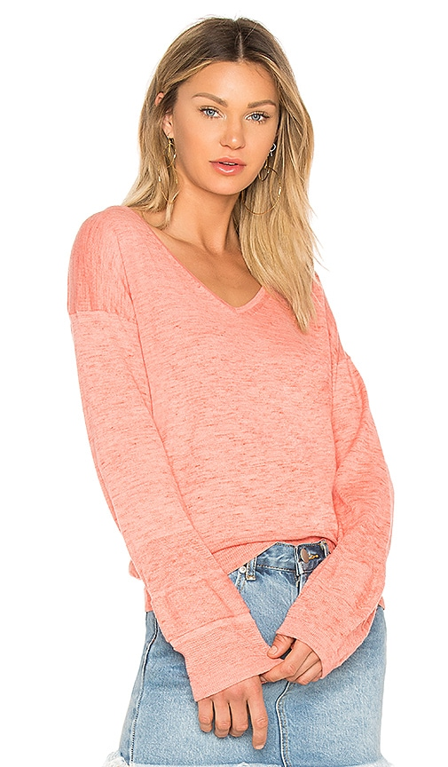 White + Warren V Neck Sweater in Pink