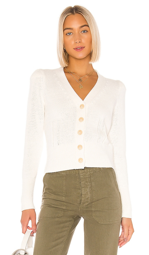Puff Shoulder Cardigan In Ivory by White + Warren