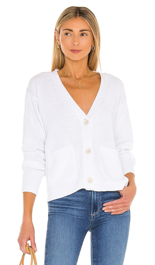 White + Warren Tops RECYCLED COTTON PATCH POCKET CARDIGAN