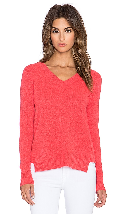 White + Warren Ribbed Panel V Neck Sweater in Siren Heather