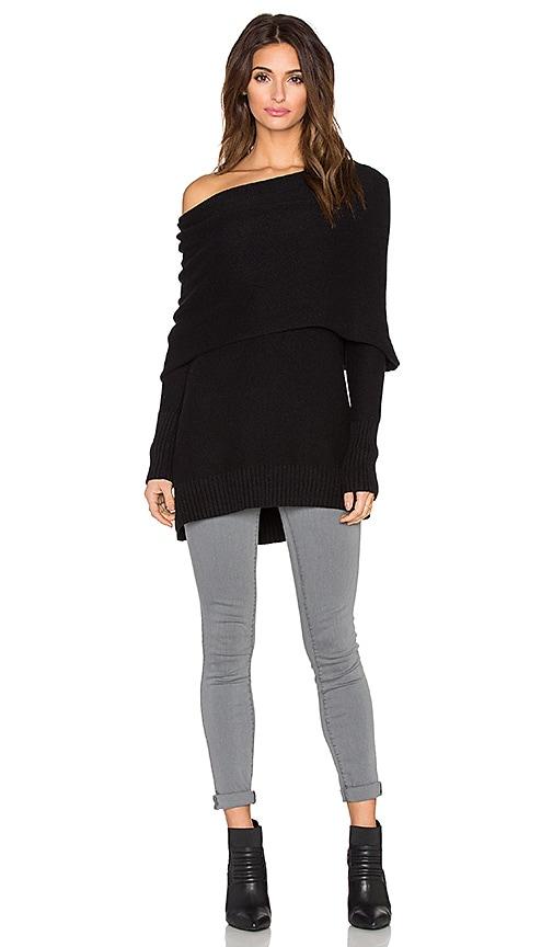 White + Warren Three Way Cowlneck Sweater in Black