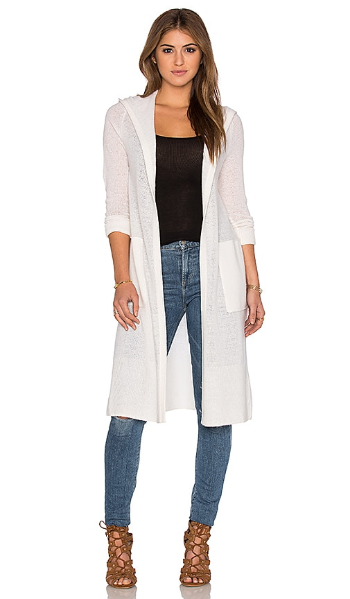 White + Warren Hooded Cardigan in Pearl White