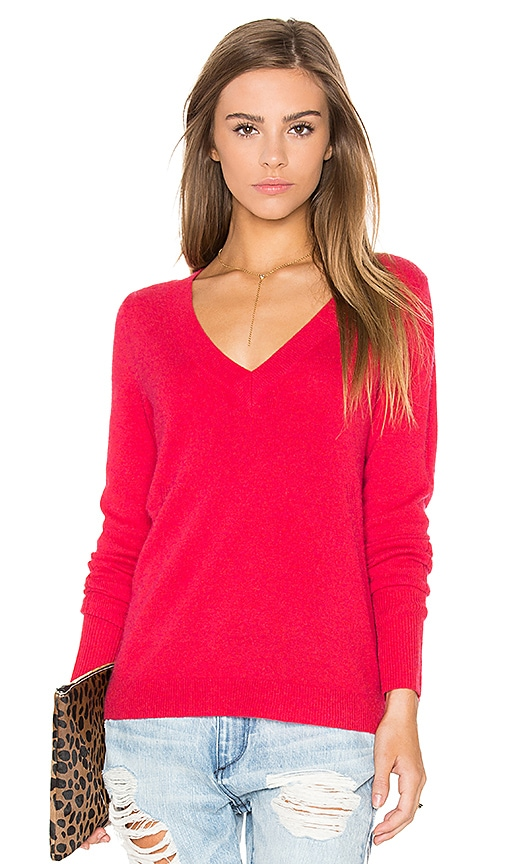 White + Warren Rib V Neck Sweater in Red