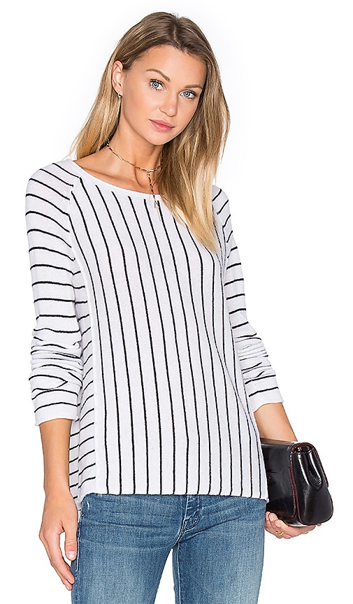 White + Warren Mix Stripe Sweater in White & Black