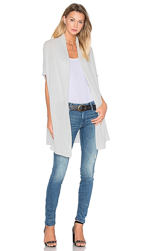 White + Warren Two Way Cocoon Cardigan in Platinum Heather