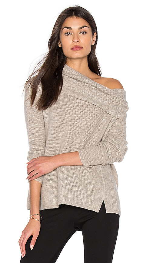White + Warren Three Way Funnel Neck Sweater in Tan