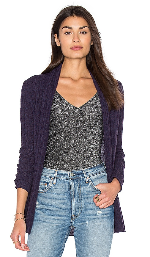 White + Warren Cable Knit Cardigan in Purple