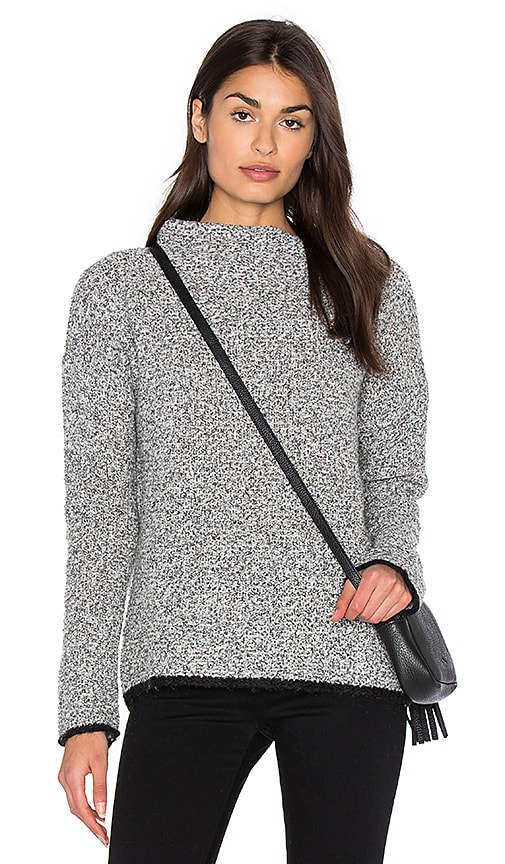 White + Warren Boucle Sweater in Gray