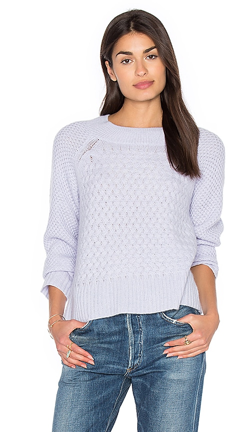 White + Warren Weaved Crew Neck Sweater in Blue