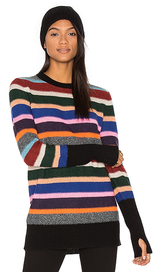 White + Warren Stripe Crew Neck Sweater in Black