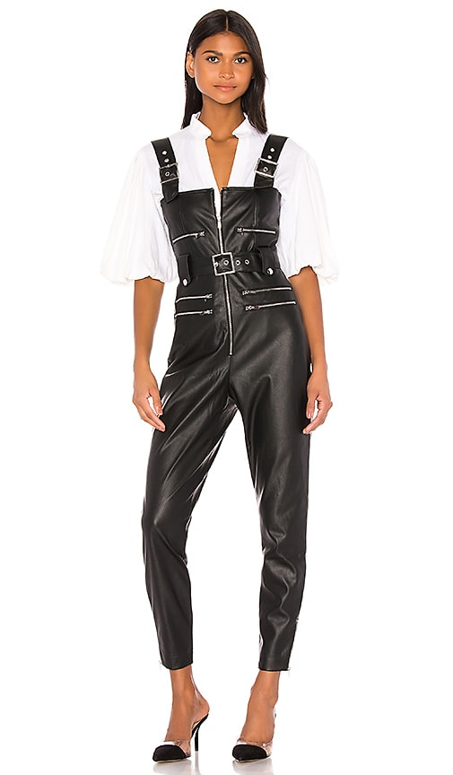 Moto Vegan Leather Overalls