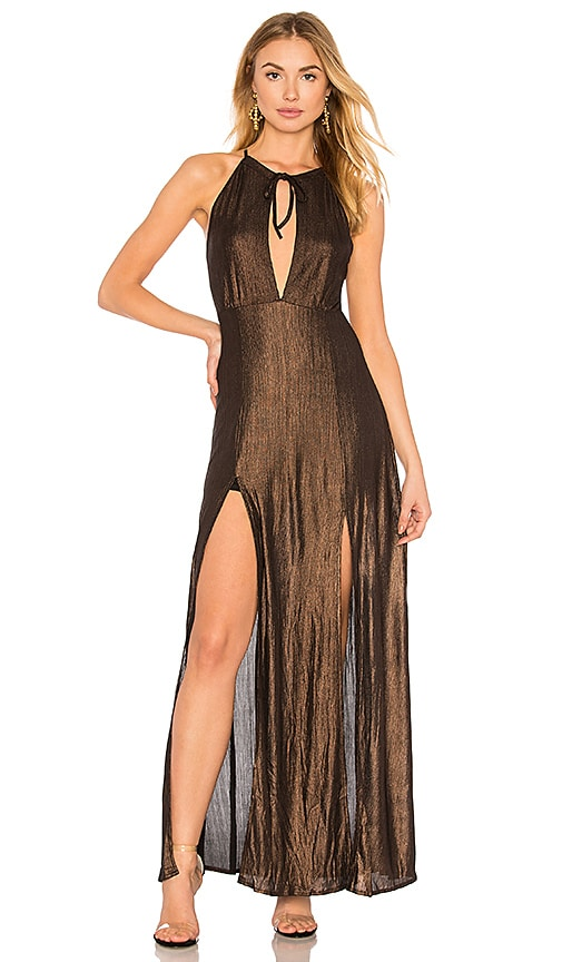WYLDR Out Of My League Dress in Metallic Bronze