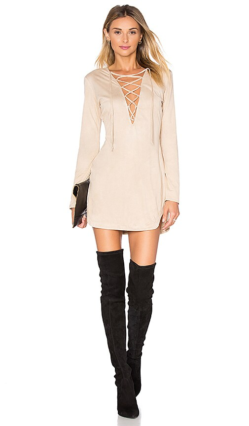 WYLDR Pretty Tied Up Dress in Beige