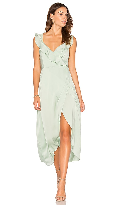 WYLDR Heartbreak Hotel Wrap Maxi Dress in Green