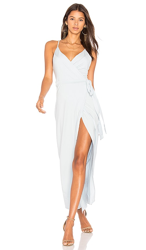WYLDR Wrap Over Me Maxi Dress in Baby Blue