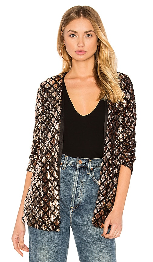 WYLDR Cross Fire Sequin Blazer in Metallic Bronze