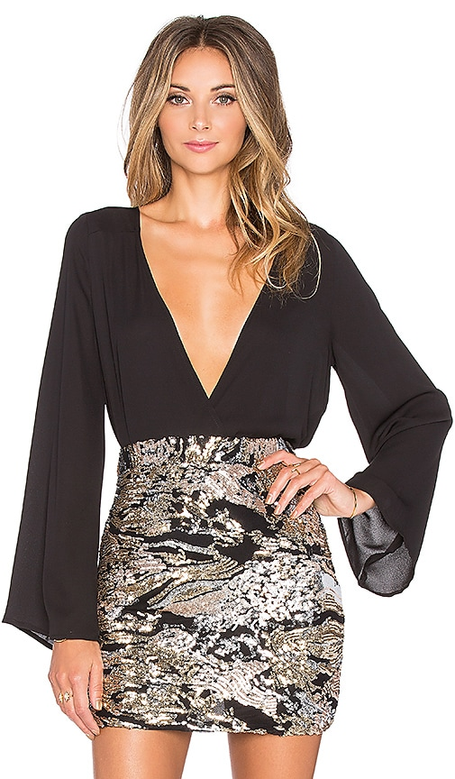 WYLDR Kaia Bell Sleeved Surplus Blouse in Black