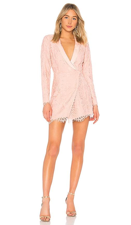 X by NBD Que Bonita Lace Tux Dress in Blush