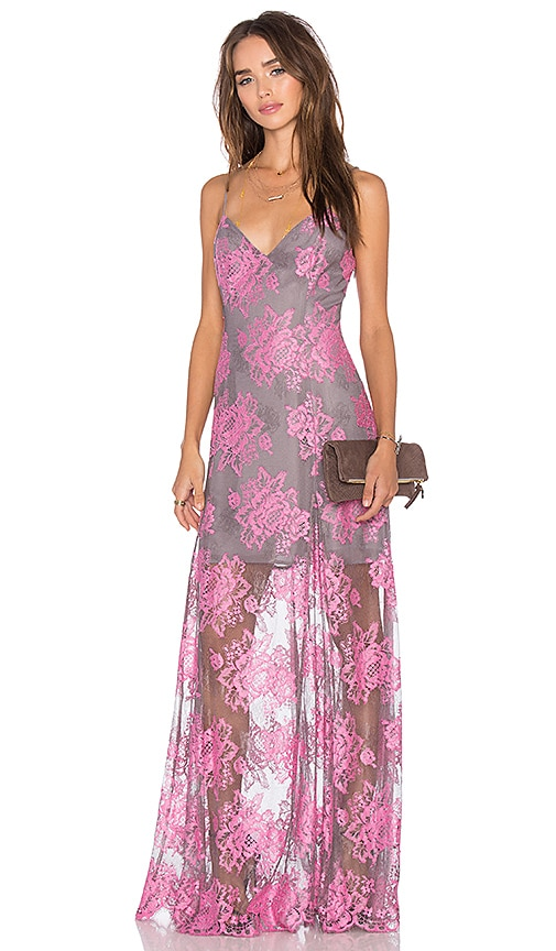 X by NBD Tabitha Maxi Dress in Pink & Grey