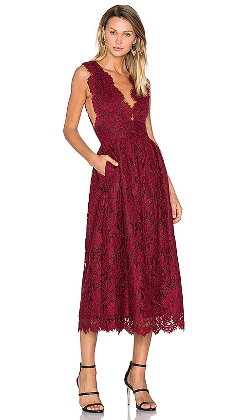 X by NBD Adalynn Dress in Burgundy