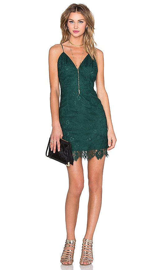 X by NBD Ava Dress in Hunter Green