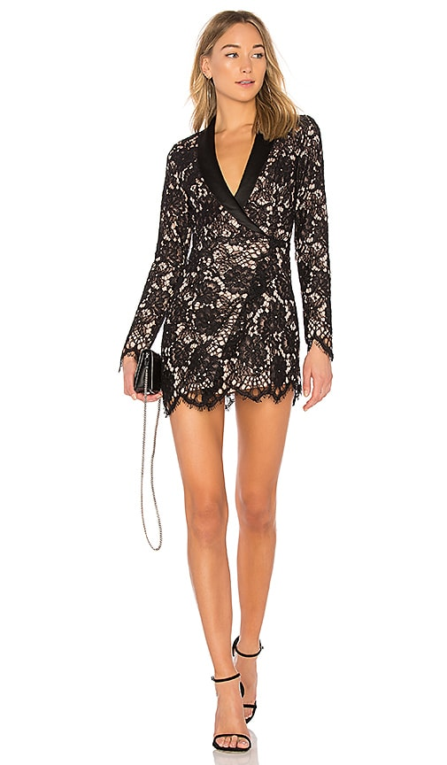 X by NBD x REVOLVE Que Bonita Lace Tux Dress in Black