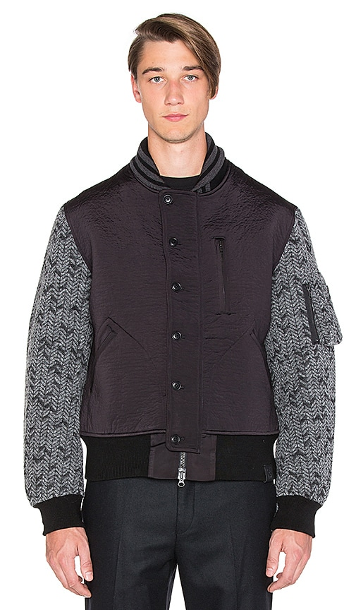Y-3 Yohji Yamamoto 3L Wool Flight Jacket in Black Charcoal Melange