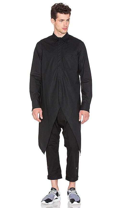 Y-3 Yohji Yamamoto Collar Long Shirt in Black