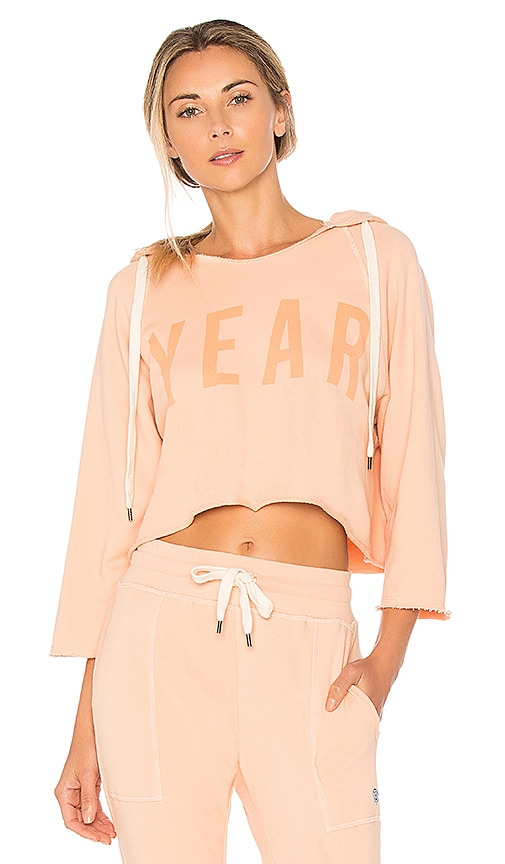 YEAR OF OURS Cropped YEAR Hoodie in Peach